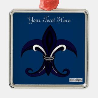 Fleur de lis blue/silver christmas ornament