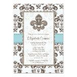 Fleur de Lis Bridal Shower Invitations Blue 13 Cm X 18 Cm Invitation Card