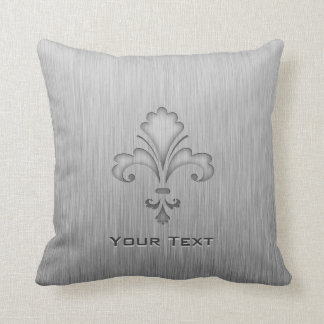 Fleur de lis; Brushed metal-look Cushion