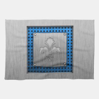 Fleur de lis; Brushed metal-look Tea Towel