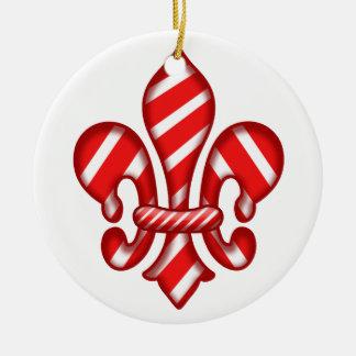 Fleur de lis Candy Cane Christmas Ornament