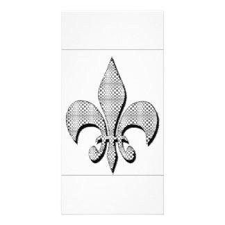 Fleur De Lis card  Black and white plus Customised Photo Card