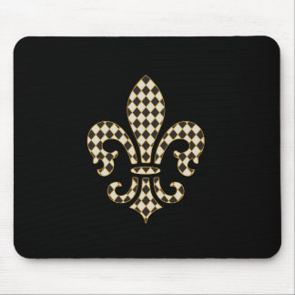 Fleur de Lis Checkered Pattern Mouse Mat