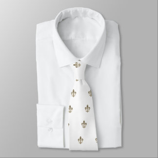 Fleur de Lis Checkered Pattern Tie