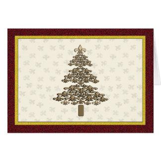 Fleur de Lis Christmas Tree Greeting Card