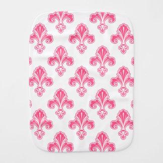 Fleur-de-lis, Coral Pink & White Burp Cloth