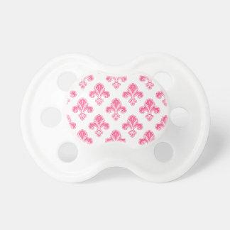 Fleur-de-lis, Coral Pink & White Pacifiers
