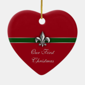 Fleur de Lis Couple First Christmas Christmas Ornament