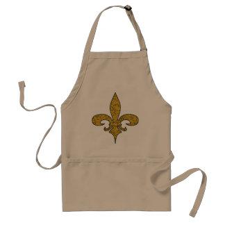 Fleur de lis cracked gold standard apron