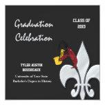 Fleur de Lis Crawfish Graduation (black) 13 Cm X 13 Cm Square Invitation Card