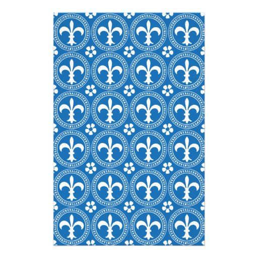 Fleur De Lis. Crayon Blue And White Pattern Personalized Stationery