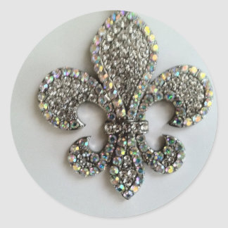 Fleur de lis Crystal on white Classic Round Sticker
