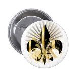 Fleur de Lis, customisable text 6 Cm Round Badge
