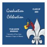 Fleur de Lis Dark Blue Crawfish Graduation Custom Announcements