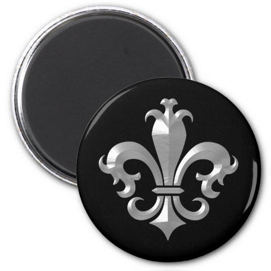 Fleur De LIs Fancy Silver Bevel Saints Classic 6 Cm Round Magnet