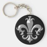 Fleur De LIs Fancy Silver Bevel Saints Classic Key Chain