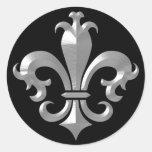 Fleur De LIs Fancy Silver Bevel Saints Classic Round Sticker
