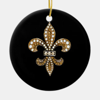 Fleur De Lis Flor  New Orleans Customize Gold Christmas Ornament