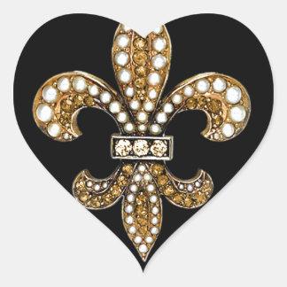 Fleur De Lis Flor  New Orleans Customize Gold Heart Sticker