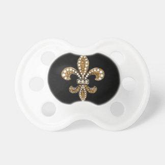 Fleur De Lis Flor  New Orleans Customize Gold Pacifiers