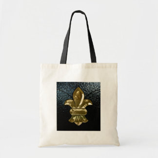 Fleur De Lis Flor  New Orleans Gold Black Canvas Bags