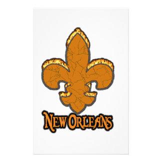 Fleur De Lis Flor New Orleans Gold Black Fire Customized Stationery