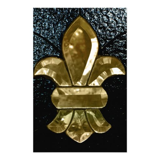 Fleur De Lis Flor  New Orleans Gold Black Customized Stationery