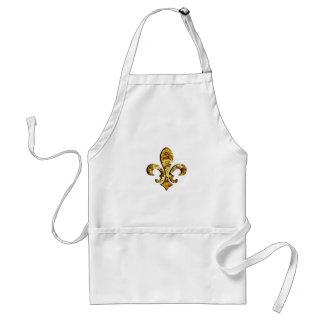 Fleur De Lis Flor  New Orleans Gold Gears Standard Apron