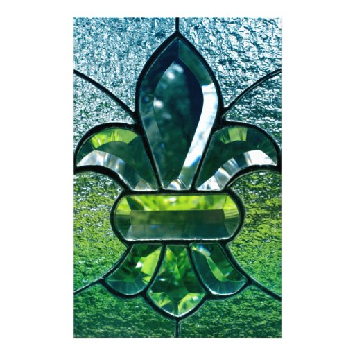 Fleur De Lis Flor  New Orleans Green Sparkle Stationery Paper