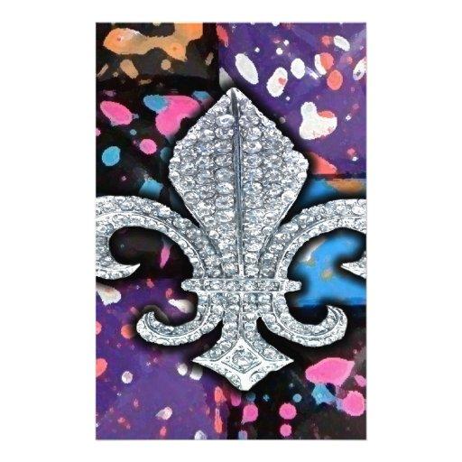 Fleur De Lis Flor  New Orleans Jewel Abstract Custom Stationery