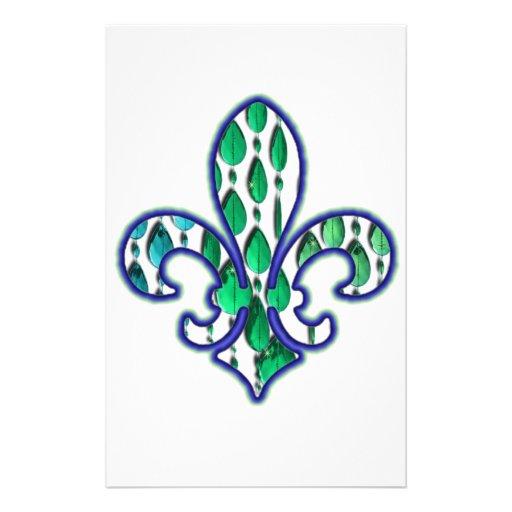Fleur De Lis Flor  New Orleans Jewel Blue Green Customized Stationery