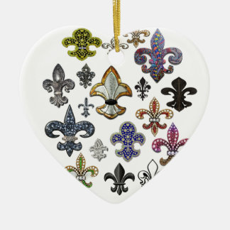 Fleur De Lis Flor  New Orleans Jewel Sparkle Ceramic Heart Decoration