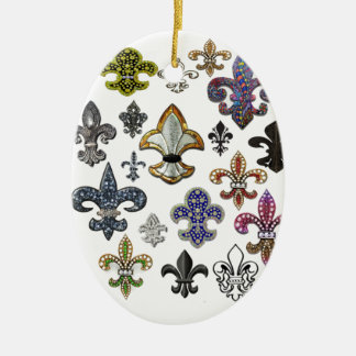 Fleur De Lis Flor  New Orleans Jewel Sparkle Ceramic Oval Decoration