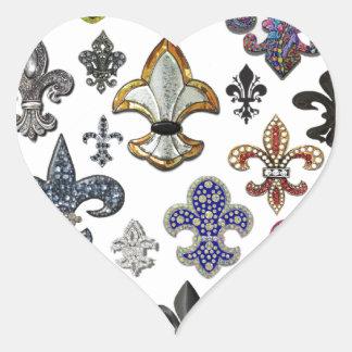 Fleur De Lis Flor  New Orleans Jewel Sparkle Heart Sticker
