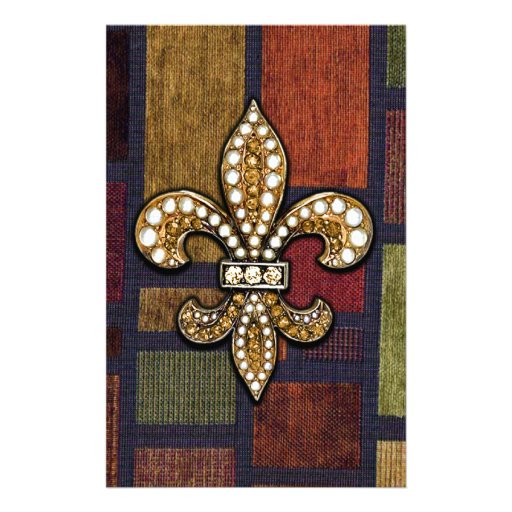 Fleur De Lis Flor  New Orleans Jewel Sparkle Patch Stationery
