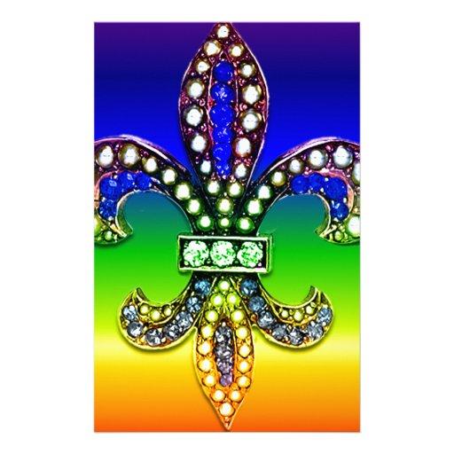 Fleur De Lis Flor  New Orleans Jewel Sparkle Stationery Design