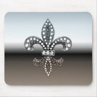 Fleur De Lis Flor  New Orleans Silver Black Mouse Mat