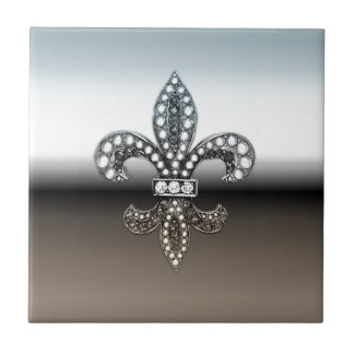 Fleur De Lis Flor  New Orleans Silver Black Small Square Tile