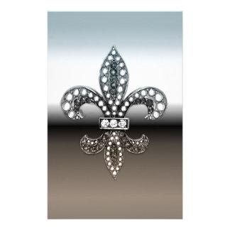 Fleur De Lis Flor  New Orleans Silver Black Stationery