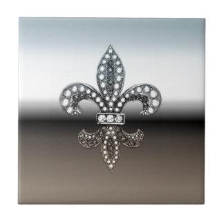 Fleur De Lis Flor  New Orleans Silver Black Tile