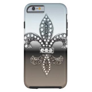 Fleur De Lis Flor New Orleans Silver Black Tough iPhone 6 Case