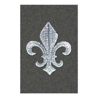 Fleur De Lis Flor  New Orleans Stone Jewel Stationery Paper