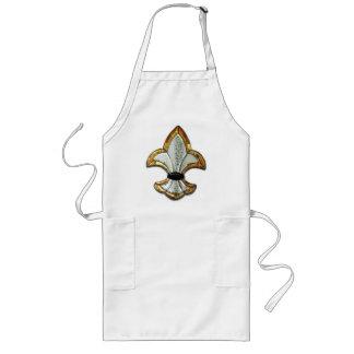 Fleur De Lis Flor Symbol Logo Brown New Orleans Long Apron