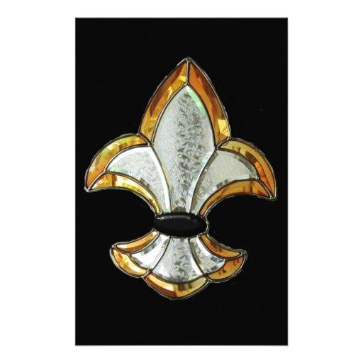 Fleur De Lis Flor Symbol Logo Brown New Orleans Customized Stationery