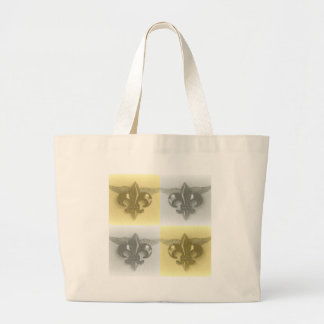 FLEUR DE LIS GOLD AND SILVER COLLAGE PRINT BAGS