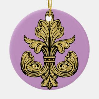 Fleur de lis Gold Double-Sided Ceramic Round Christmas Ornament