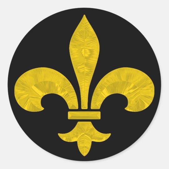 Fleur De Lis Gold Leaf Cut Classic Round