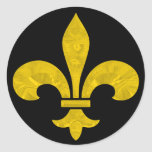 Fleur De Lis Gold Leaf Cut Round Sticker