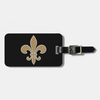 Fleur de Lis Gold with White and Black Outline Luggage Tag