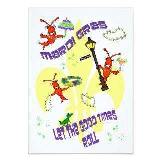 Fleur de Lis Good Times Roll Mardi Gras Party 13 Cm X 18 Cm Invitation Card